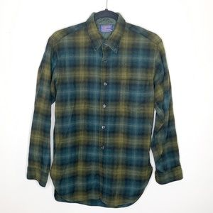 Pendleton Men's Blue Green Wool Burton Up Plaid
